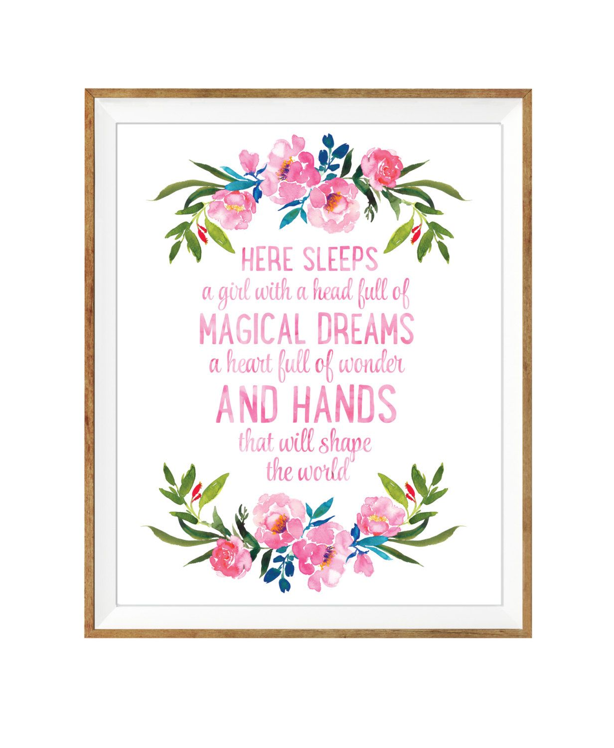 Nursery Prints Girl Here Sleeps A Girl Floral Nursery Watercolor Print Girls