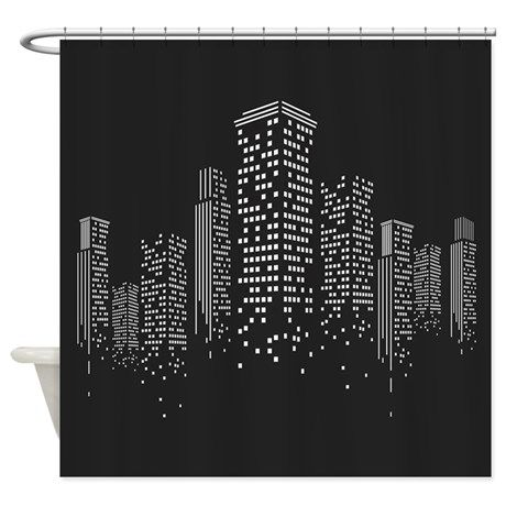 Cityscape Shower Curtain By Daecu In 2020 City Vector Space Illustration Wall Design