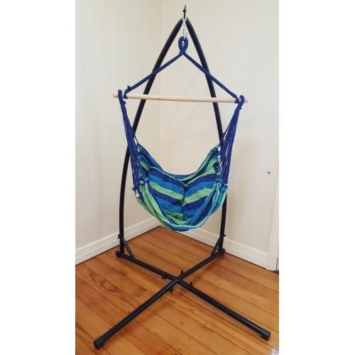 Good Blue Padded Hammock Chair With Pillows With Stand
