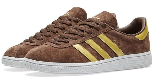 best authentic 4b191 b136b Adidas Munchen trainers reissue in brown and gold