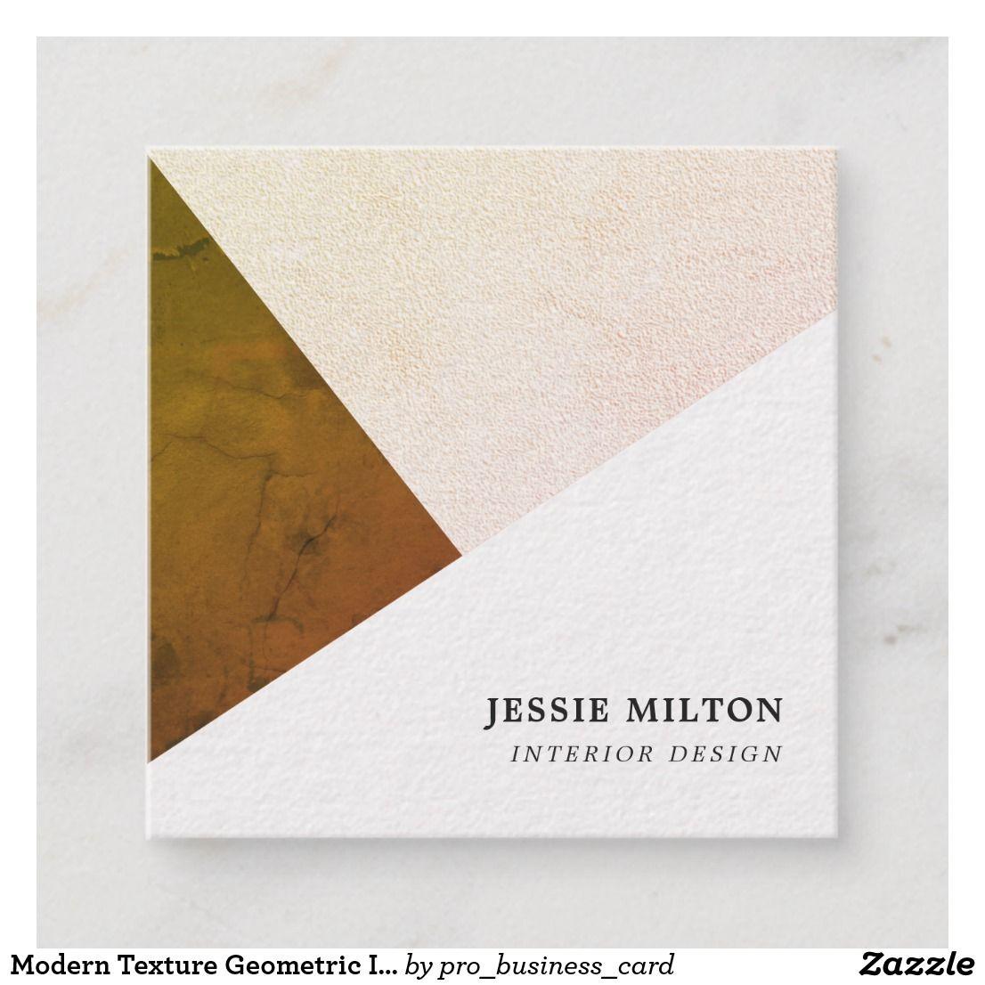 Modern Texture Geometric Interior Designer Square Business Card Zazzle Com Design Interior Design Texture
