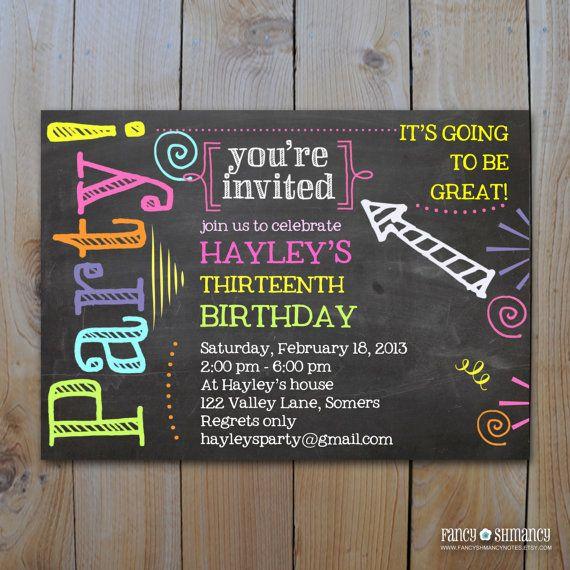 Invitation Chalkboard Invitation Neon Colors Invitation