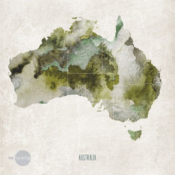 Watercolor map of australia map wall art print watercolor map watercolor map of australia world map poster by takethepicture gumiabroncs Choice Image