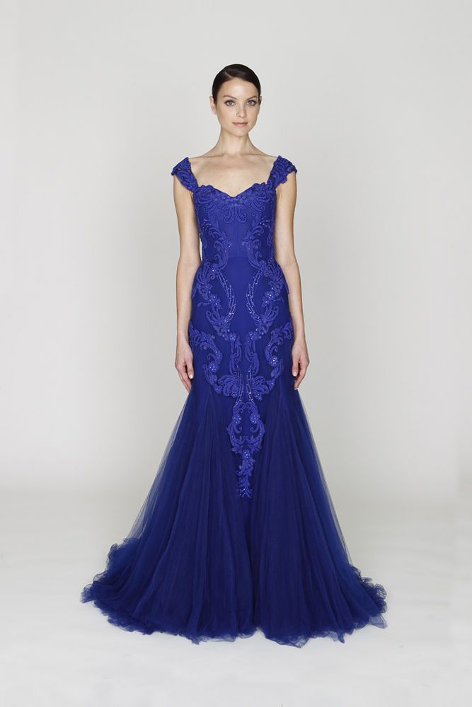 NWT Monique Lhuillier Royal Blue Tulle Embroidered Sequins Gown SZ ...