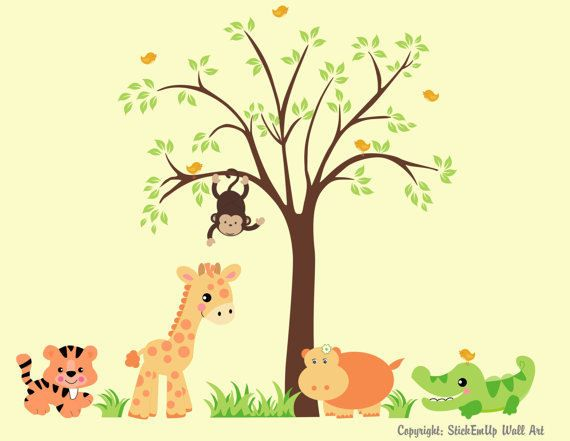 Sweet Baby Zoo Animals And Tree Wall Decals Wall Sticker Outlet - Zoo animal wall decals