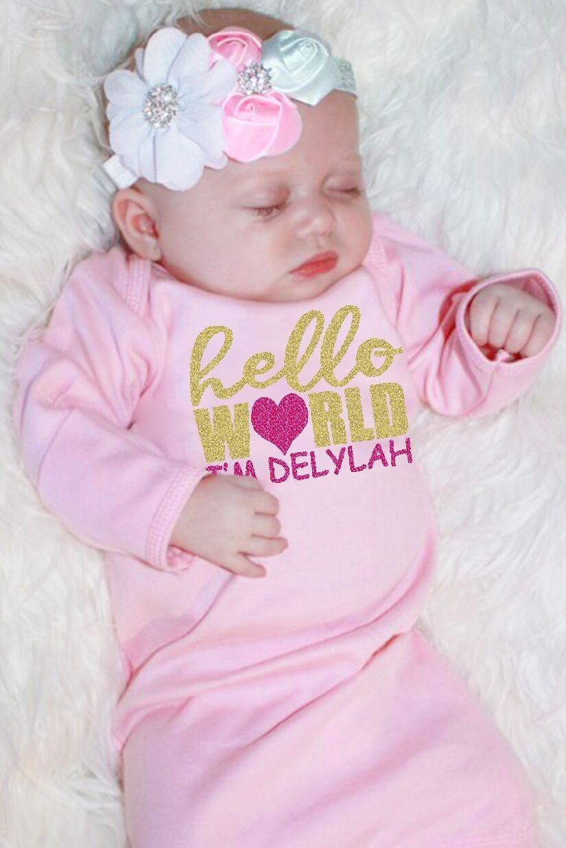 hello world sparkly personalized baby gown christian newborn
