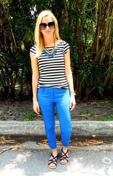 blue pants. I can't fit into my blue pants anymore :( :( and i just bought a cute striped tee :( :(