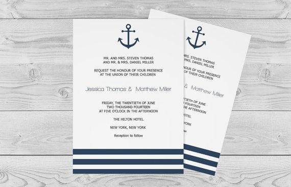 Nautical Wedding Invitation Template, Anchor  Striped Printable