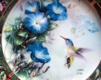 VIOLET CROWNED HUMMINGBIRD Mint Collector Plate Lena Liu's Hummingbird Treasury 1992 Gold Trim Rare