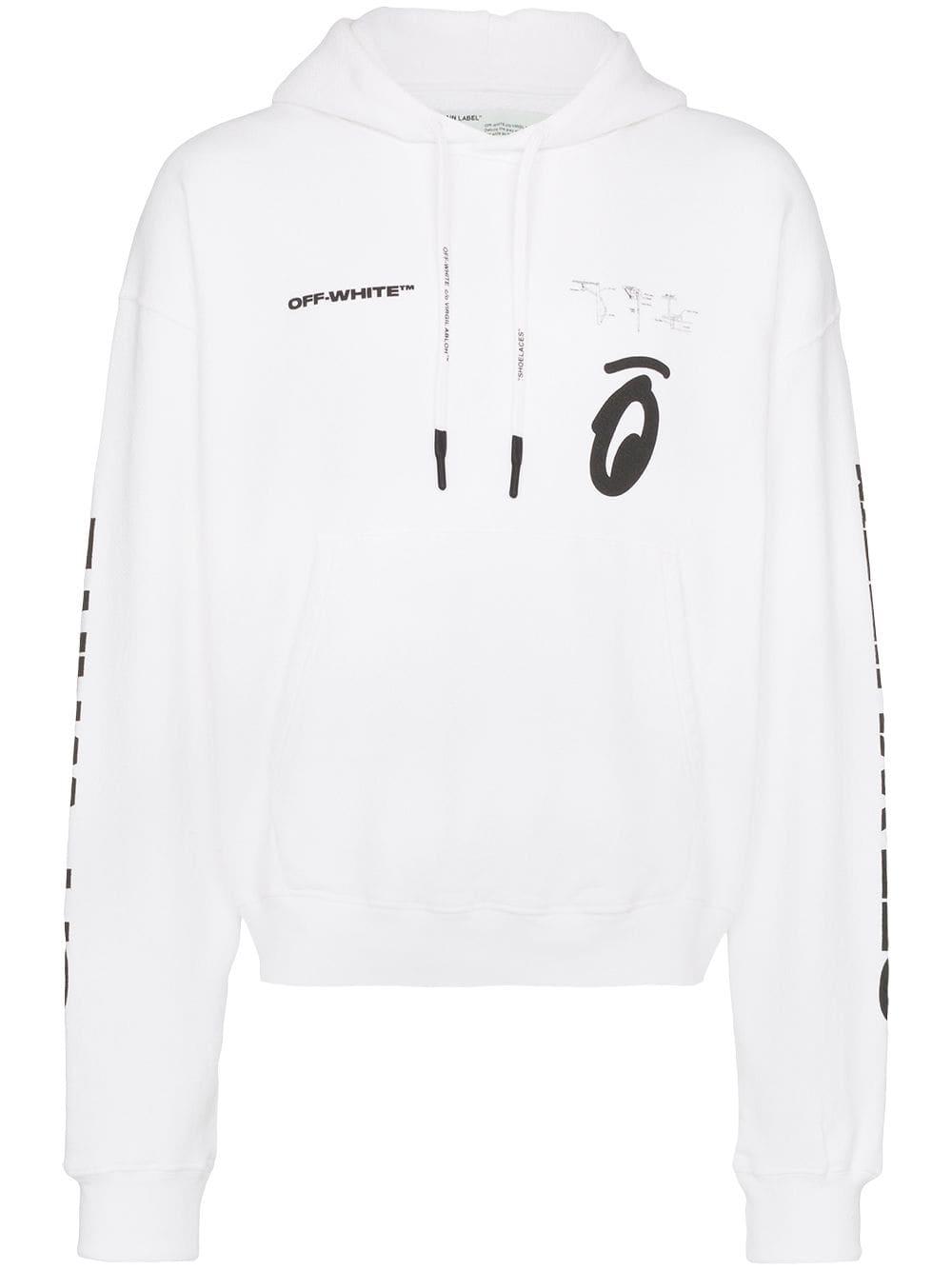 Off White Logo Print Hoodie Farfetch Hoodie Print Hoodies Mens Fashion Suits Casual [ 1334 x 1000 Pixel ]