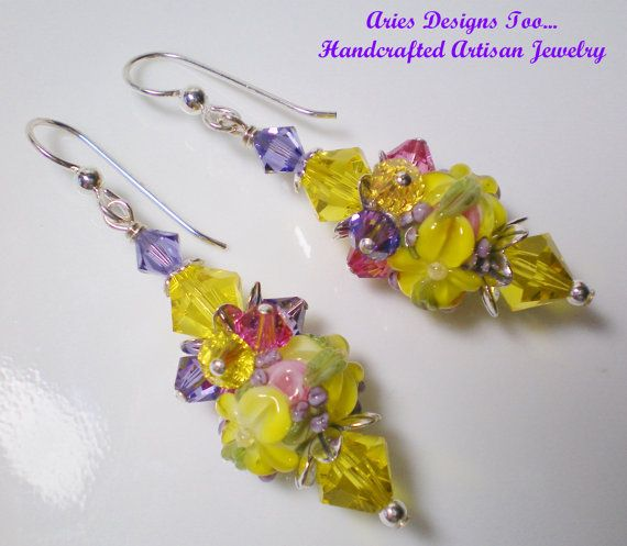 Yellow Pink and Lavender Floral Lampwork by ariesdesignstoo
