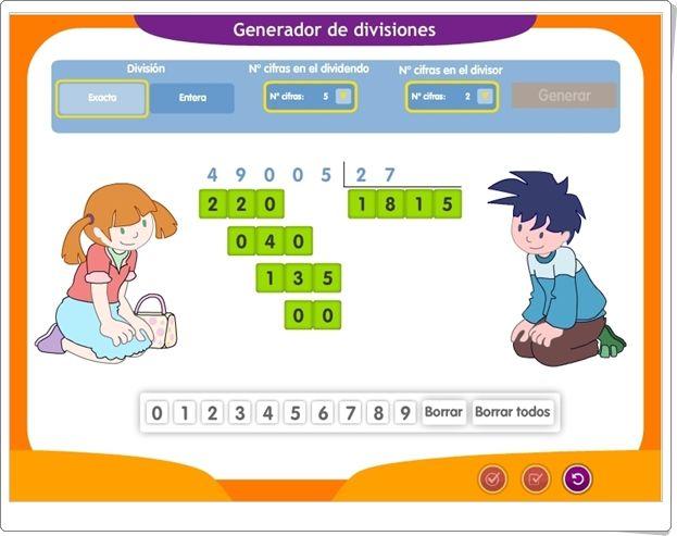 Generador De Divisiones Por 1 Y 2 Cifras Aplicación Interactiva De Matemáticas De Primaria Divisiones Matematicas Matematicas Juegos De Divisiones
