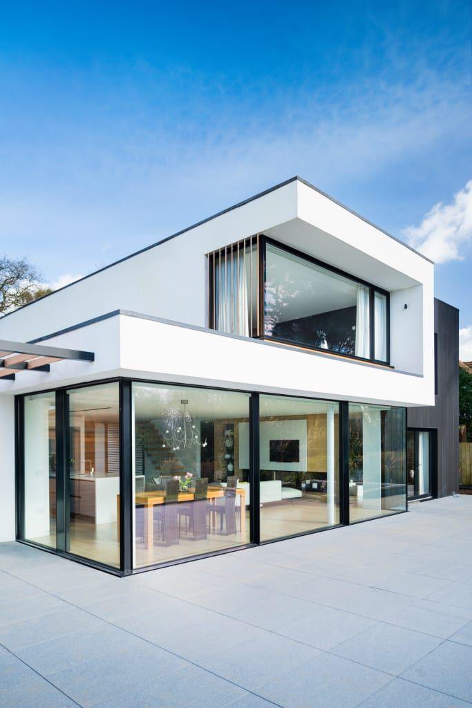 White oaks exterior barc architects modern houses white