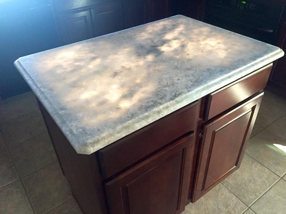 Sky Blue Countertop Dark Cabinets With Light Countertops