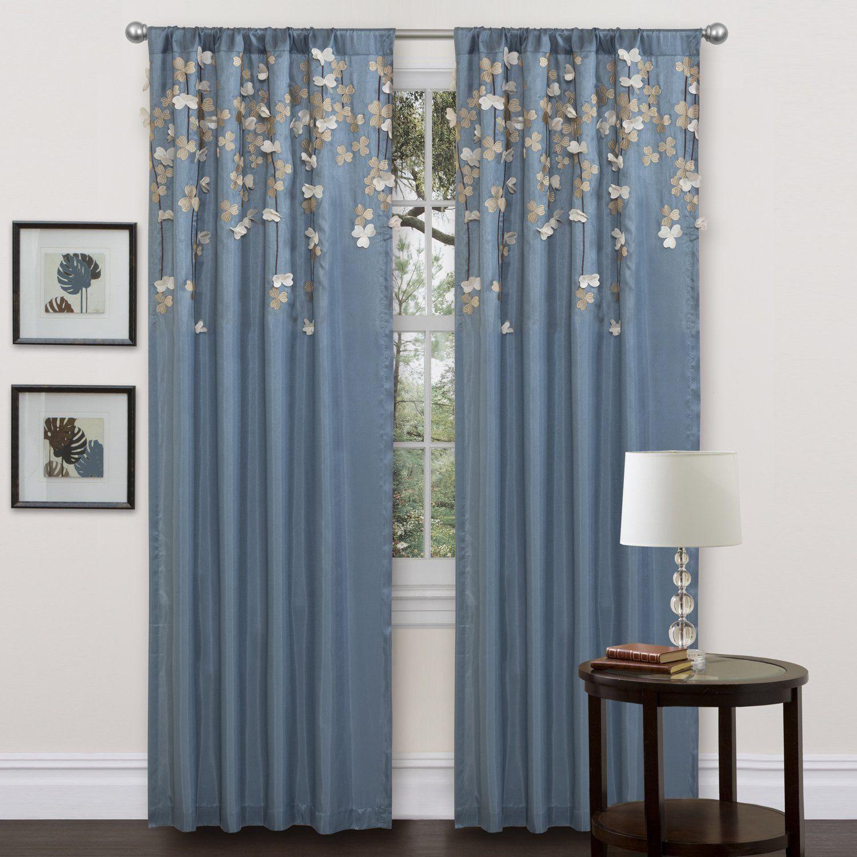Amazon Lush Decor Flower Drop Curtain Panel Blue Kitchen Dining