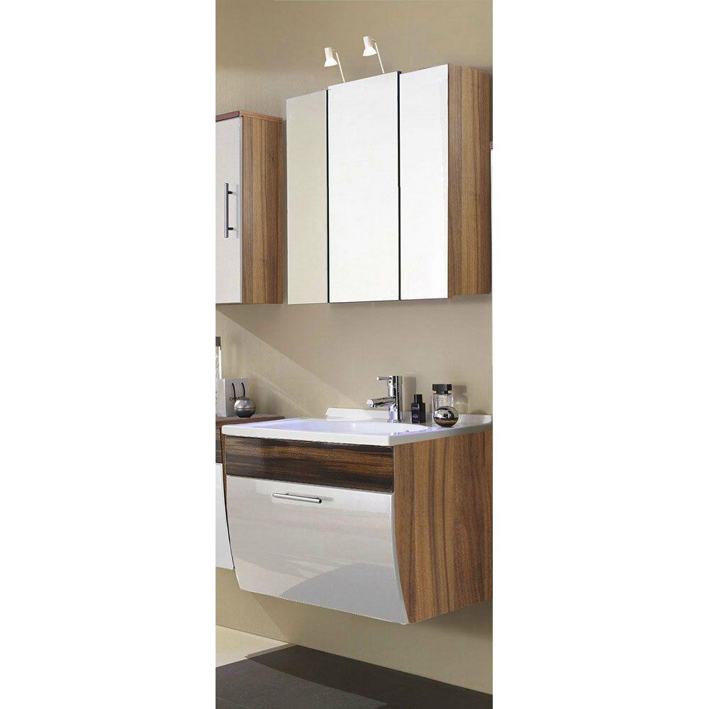 Bad Badezimmer Set Waschplatz Waschtisch Spiegelschrank Walnuss Hochglanz Weiss Ebay In 2020 Spiegelschrank Badezimmer Set Waschtisch
