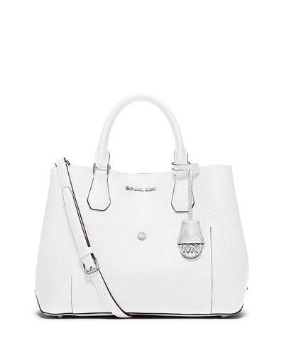 V2D1U MICHAEL Michael Kors Greenwich Large Leather Tote Bag, Optic White/Aqua