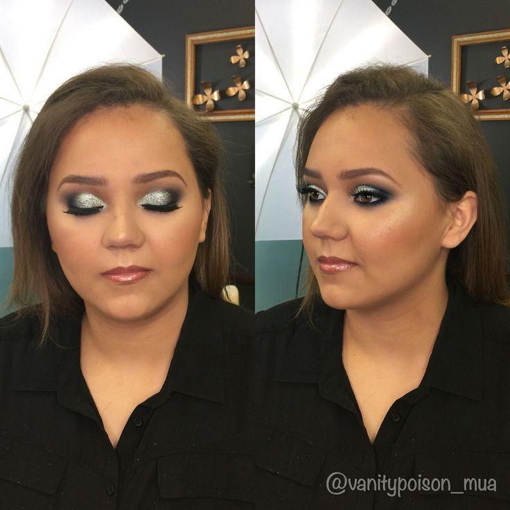 Photo of Silver glitter and navy smokey eye, prom makeup #EyeMakeupPink #EyeMakeupSmokey,…,  #Eye #E…