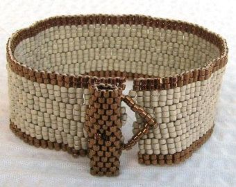 Olive Green and Sand Peyote Cuff 2107 by SandFibers on Etsy