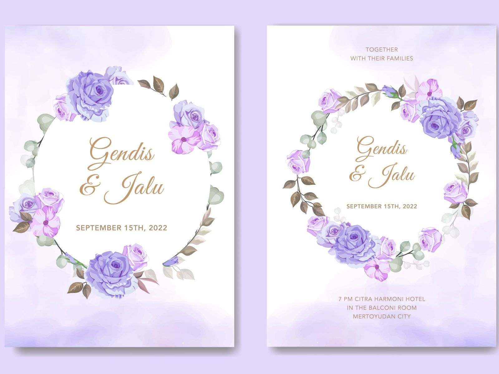 Beautiful Purple Wedding Card Floral Vector In 2020 Vintage