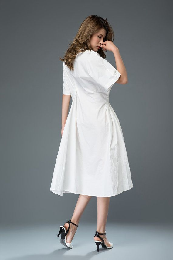 White Cotton Dress Mid-Length Relaxed-Fit by YL1dress on Etsy