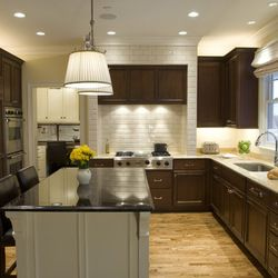 Cherry Cabinets Honey Floor Light Countertops White