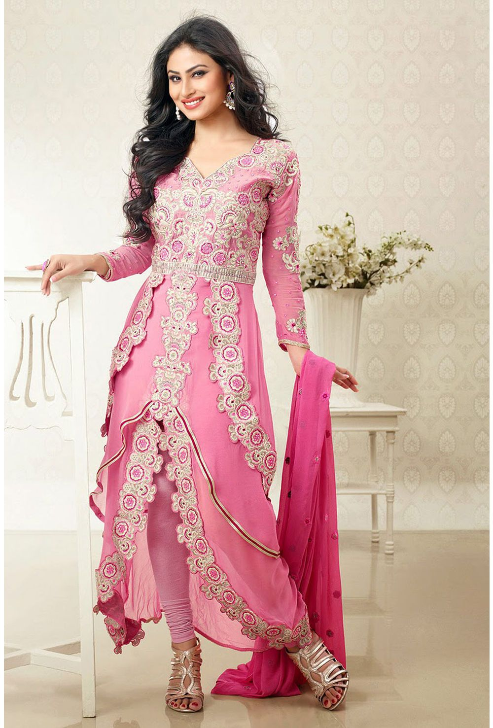 6587001e70 Buy Deep Rose Pink Faux Georgette Designer Suit Comes With A Matching  Dupatta online - Glowindian