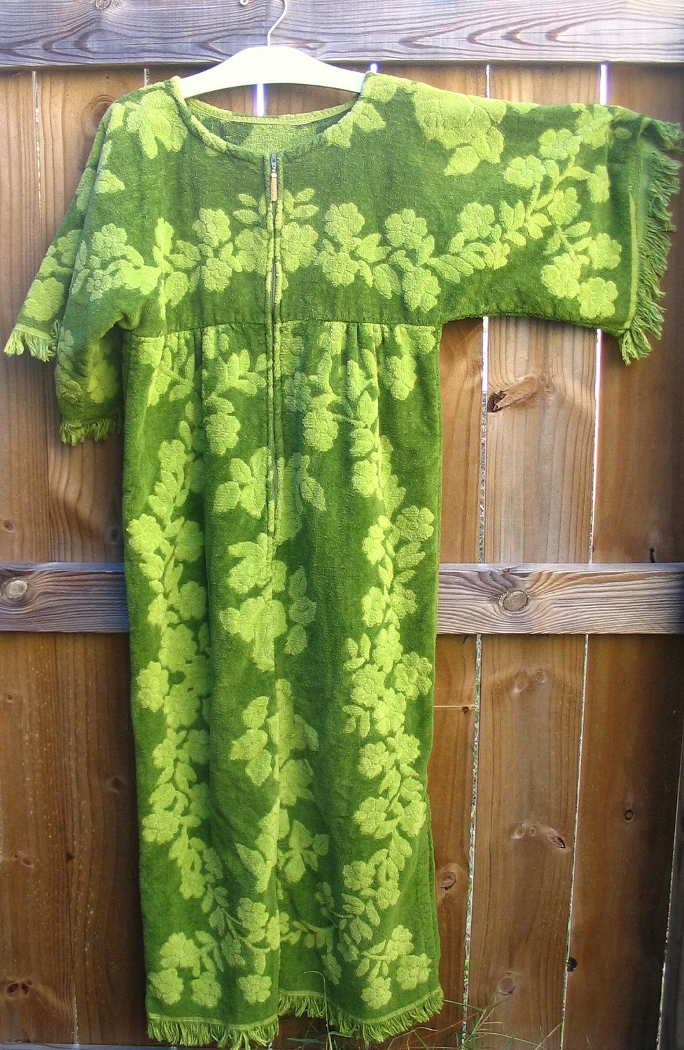 911001d585 Mod Green Terry Cloth Towel Cover Up Beach Dress Avocado | Sewing ...