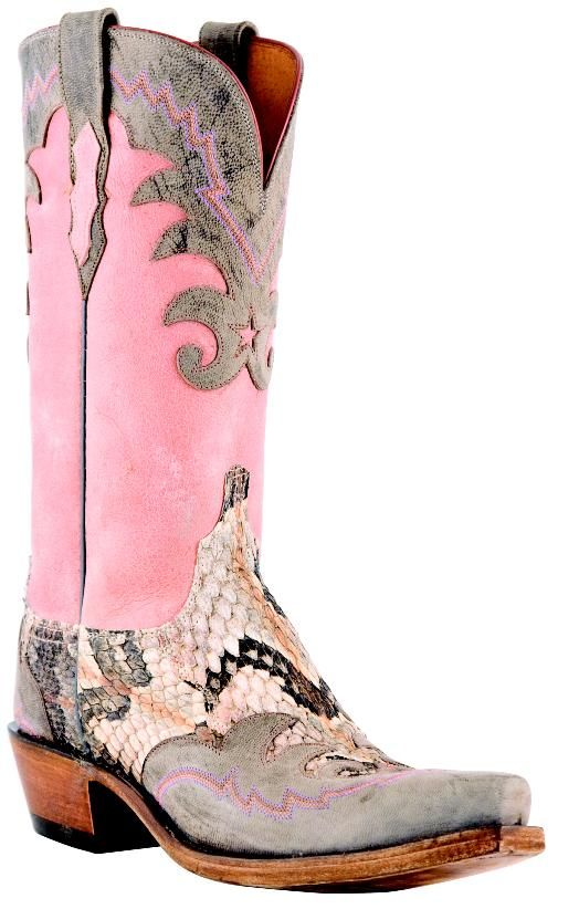 Pink Lucchese cowboy boot