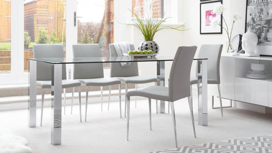 Tiva 6 To 8 Seater Large Glass And Chrome Dining Table 6 Seater Dining Table Clear Dining Chairs Chrome Dining Table