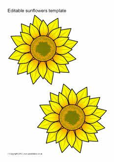 photograph regarding Free Printable Sunflower Template identified as Editable sunflower templates (SB7065) - SparkleBox No cost