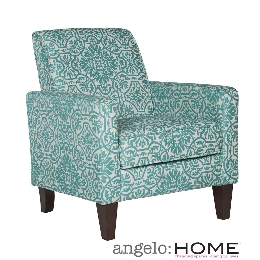 Angelo Home Sutton Modern Damask Turquoise Blue Arm Chair