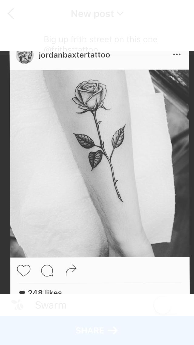 Flower rose tattoo stem