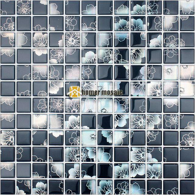 Negro de plata cristal flor de la impresión del azulejo del mosaico ...