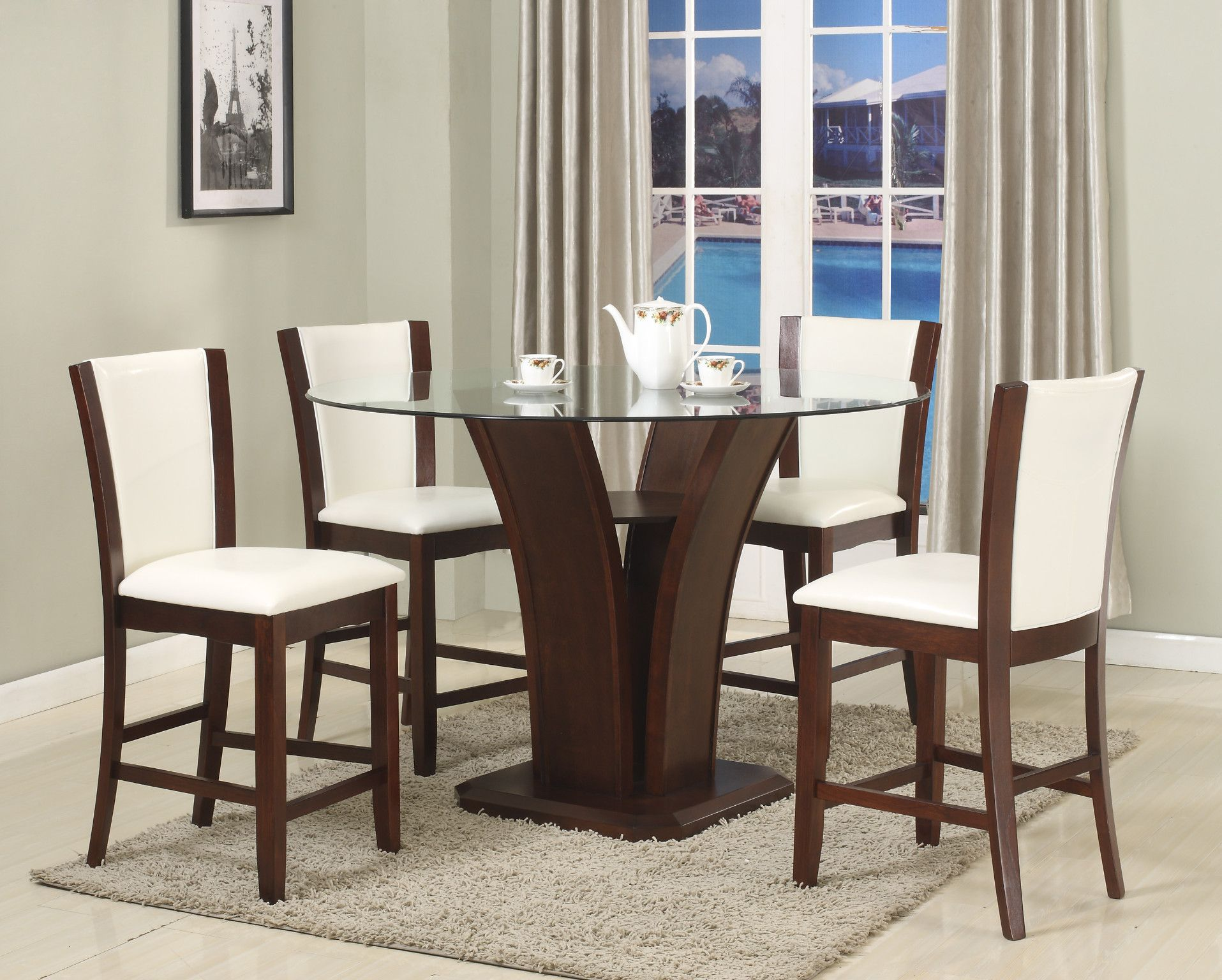 Camelia White 5 Piece Counter Height Table And 4 Chairs 64900 30000 54 Dia