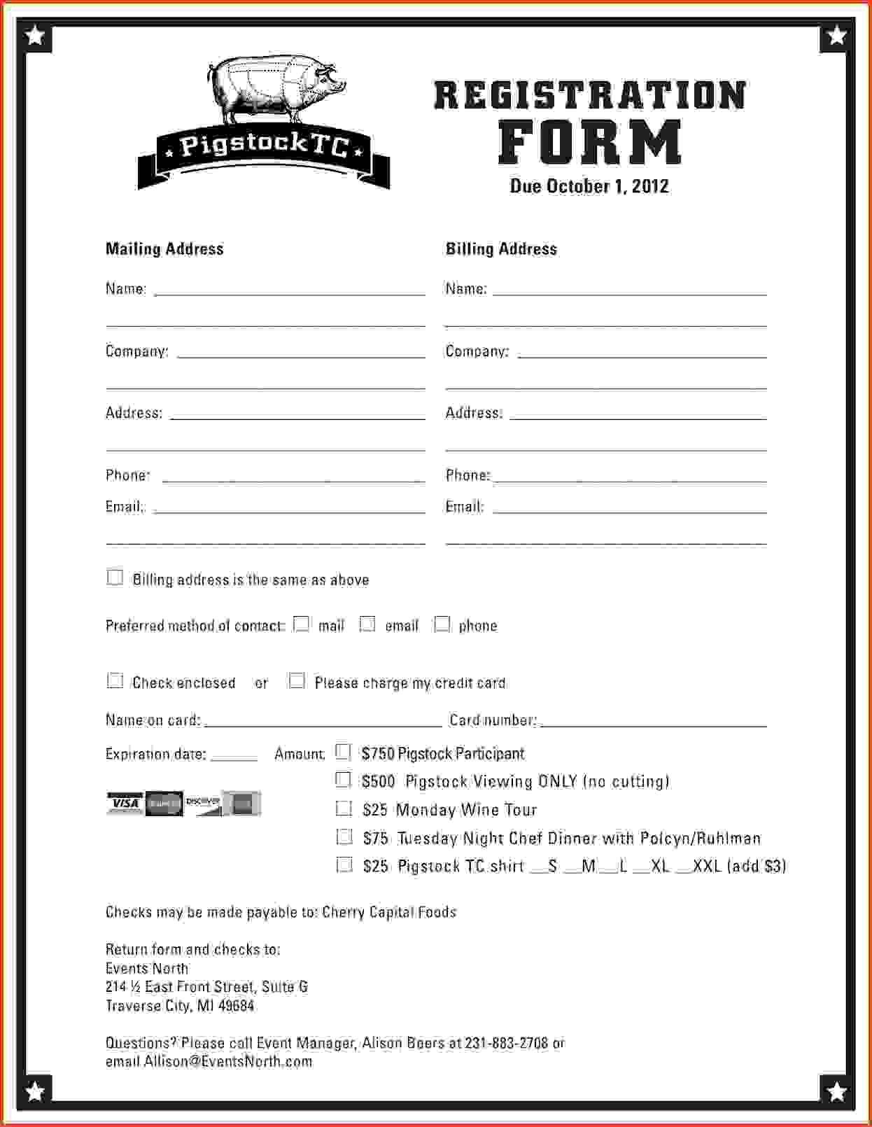 template for registration form