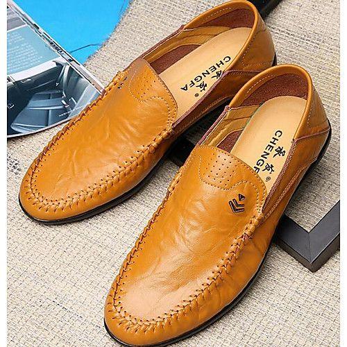 Hommes Chaussures en cuir Mocassin décontractée chaussures respirant Casual Male chaussures - Jaune tqMNMZ7
