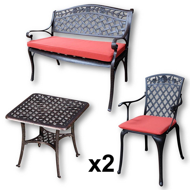 Lazy Susan - Table basse de jardin carrée SANDRA, 1 banc ROSE et 2 ...