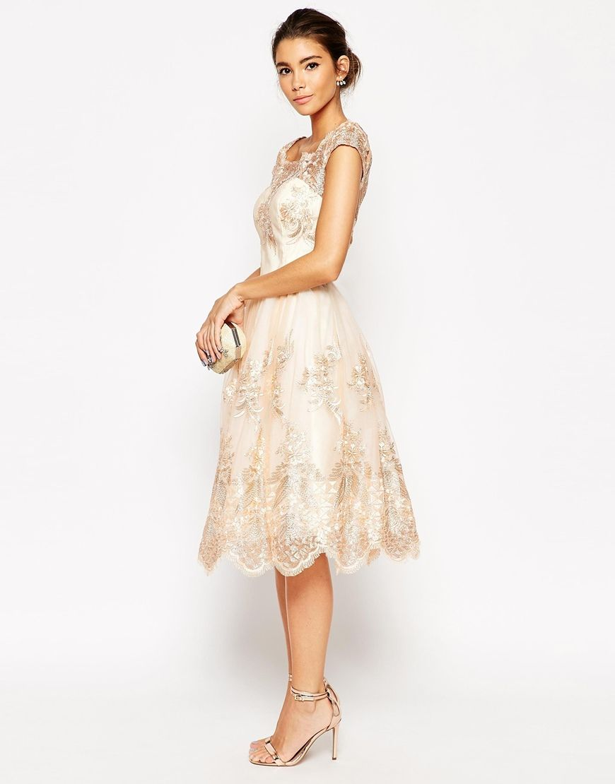 Image 4 of Chi Chi London Premium Lace Midi Prom Dress With Bardot Neck
