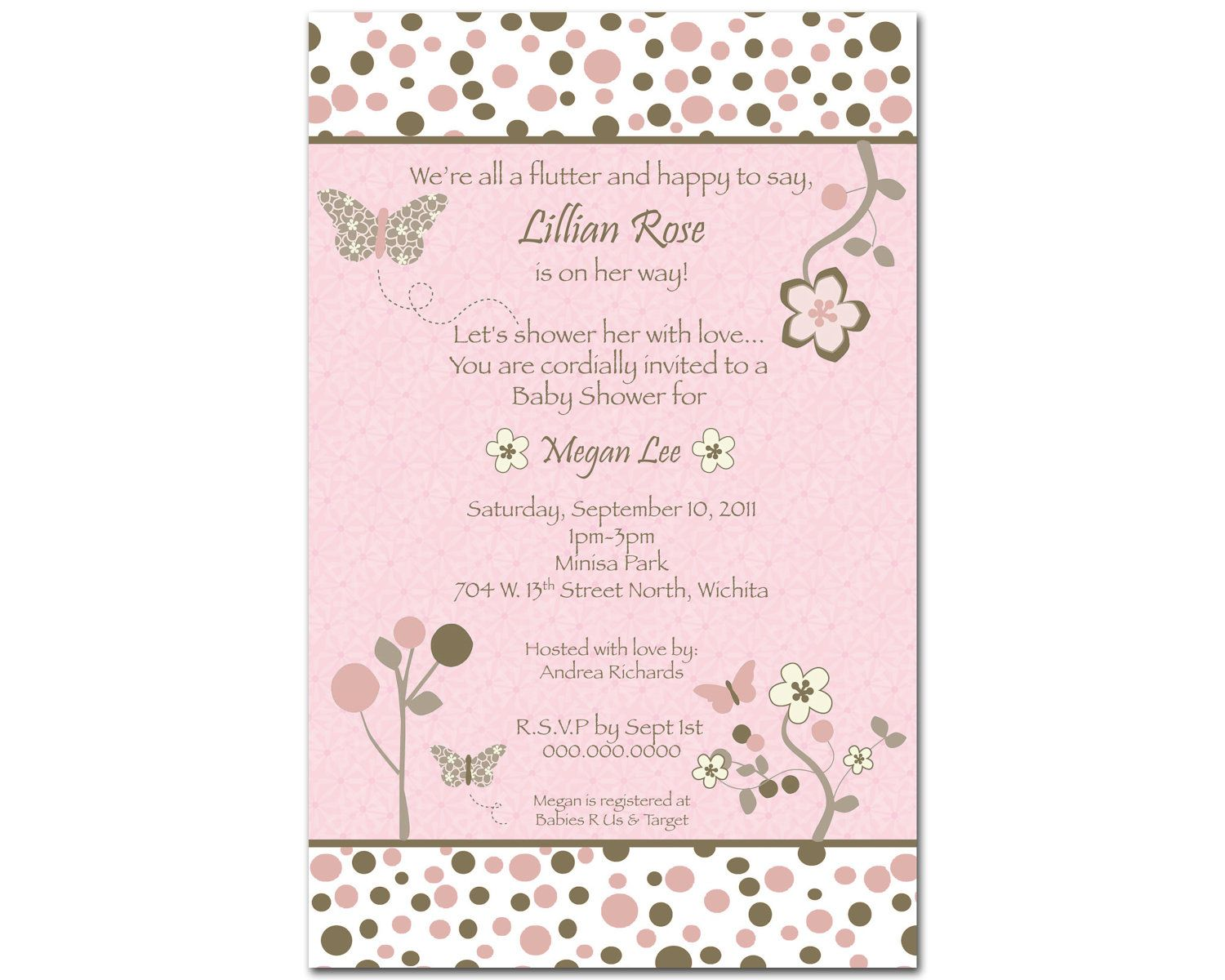 CoCaLo Mia Rose Butterfly Digital Girl Baby Shower