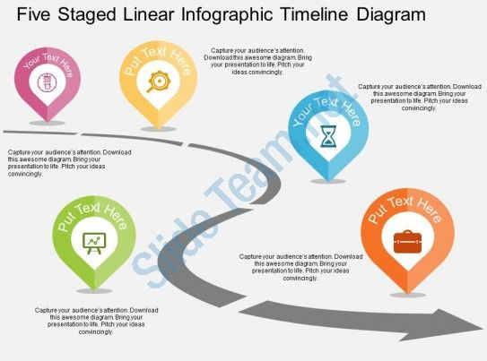 five staged linear infographic timeline diagram flat powerpoint - free roadmap templates