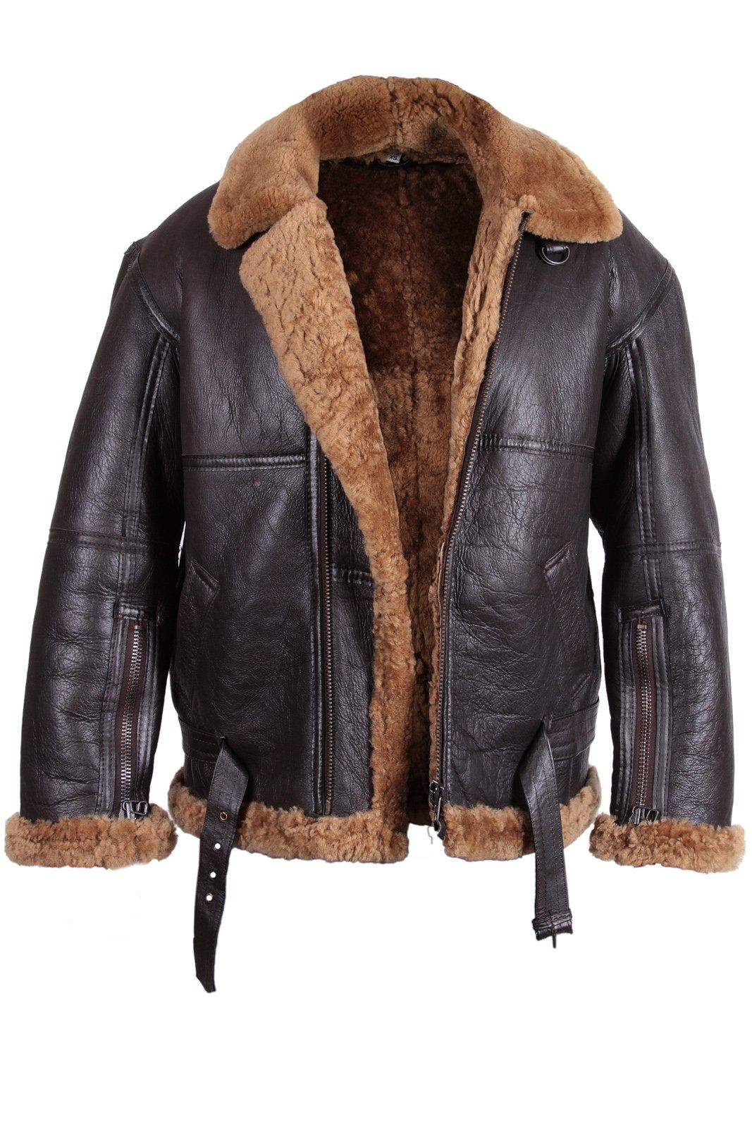 Men's Aviator Real Shearling Sheepskin Leather Bomber