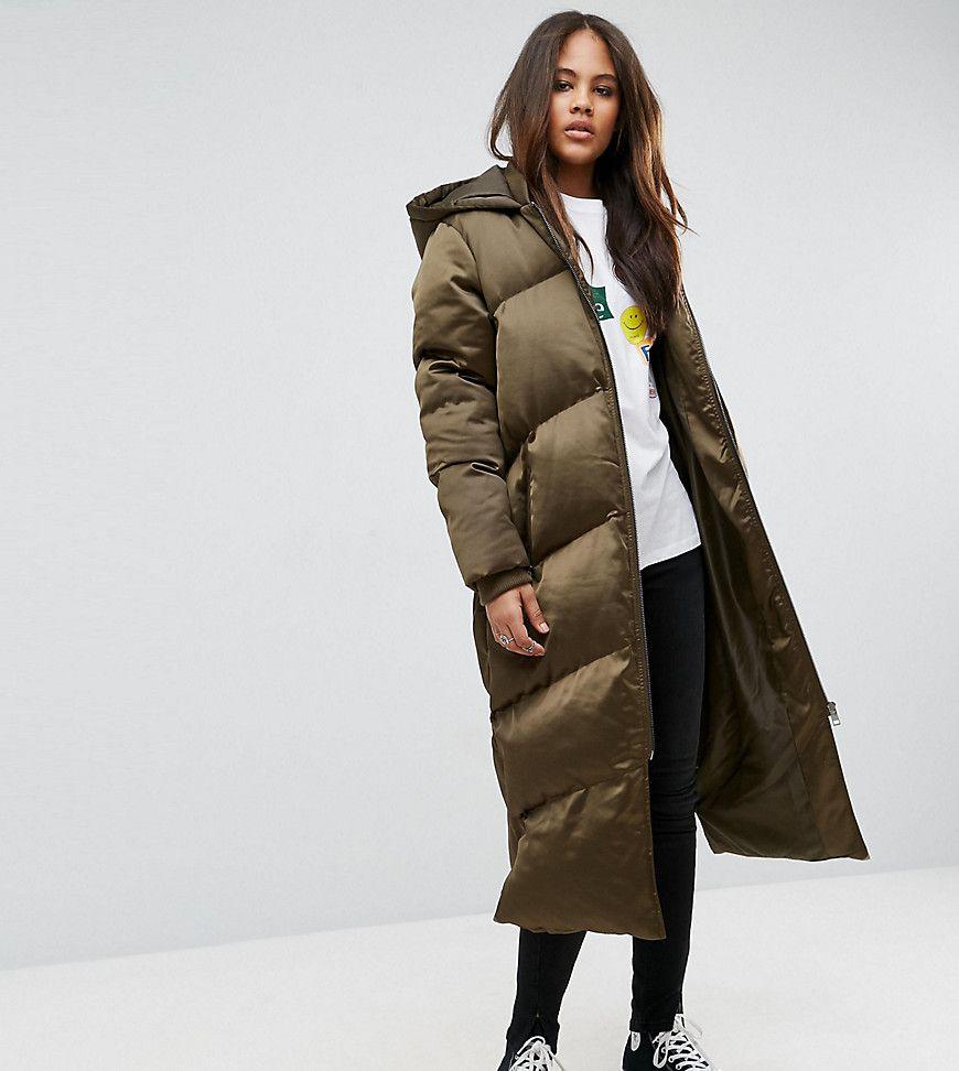 ASOS TALL Longline Puffer Jacket - Green | Steppmantel ...