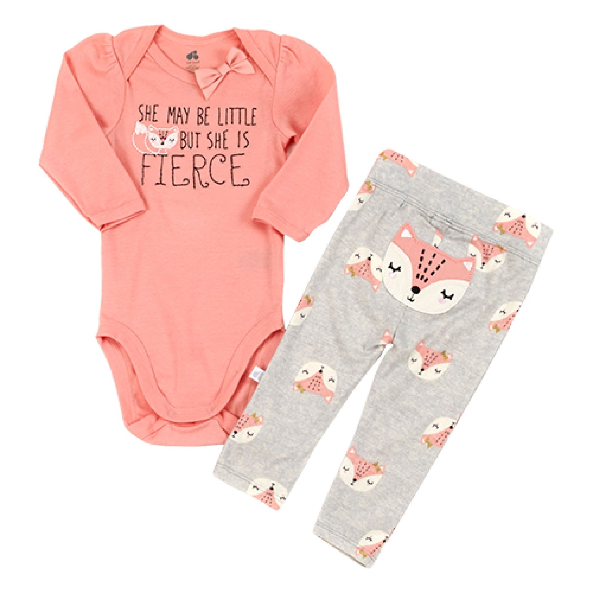 2PC Baby Girl Toddler Long Sleeve Bodysuit Pants Set Cotton Clothes 3-6-9-12M