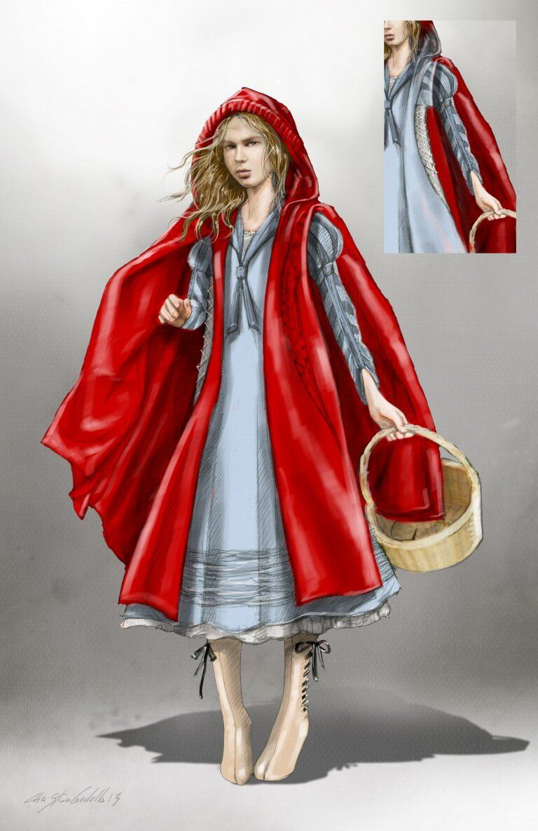 Early Costume Design Sketch For Little Red Riding Hood By Colleen