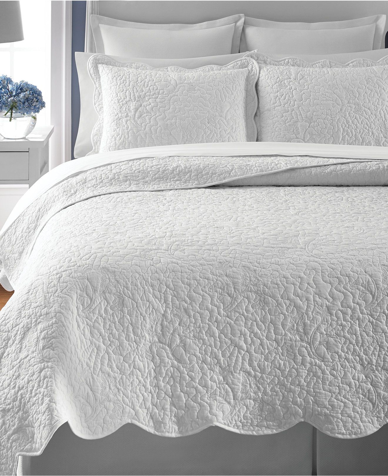 Martha Stewart Collection Whisper Leaves White Quilts (Only at ... : white quilted comforter - Adamdwight.com