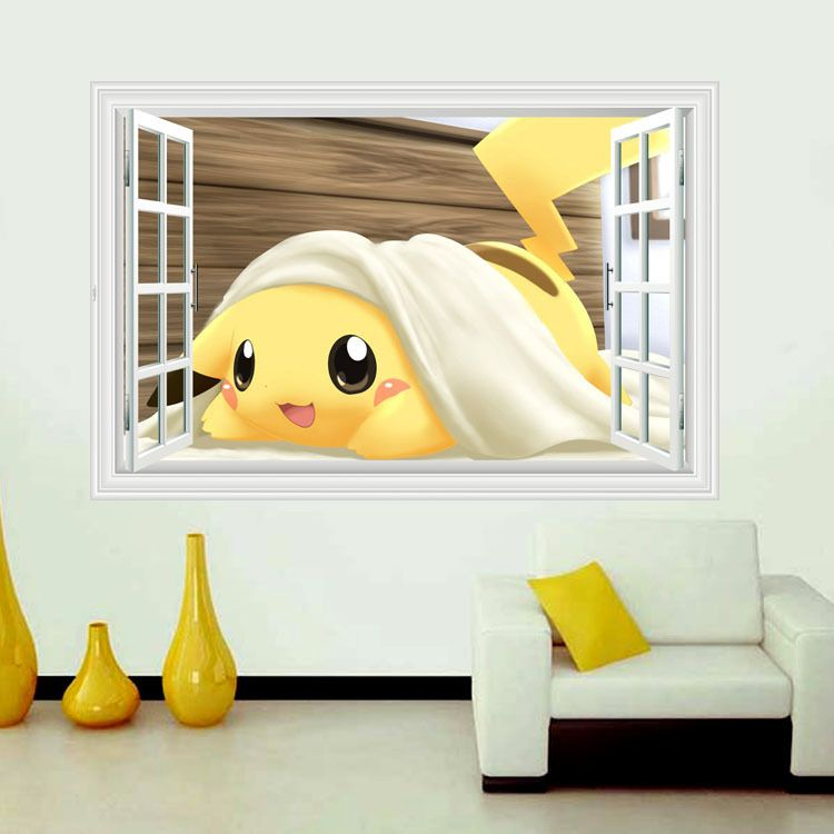 Cute Pikachu window Wall Stickers for Kids Rooms Home Decorations ...