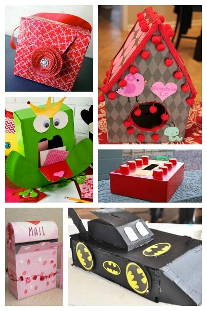 Valentine Card Holders created from a cardboard box  Be My