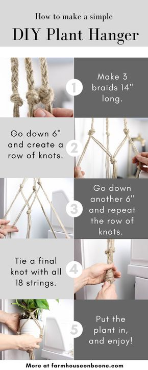 Simple DIY Macrame Plant Hanger for Beginners #plantingdiysimple