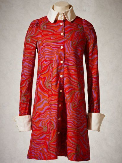 BIBA 1967 cotton mini dress with psychedelic print in acid colours